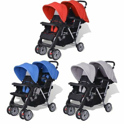 Tandem Pushchair Pram Stroller Double Baby Buggy Twins Travel Walk Home Steel