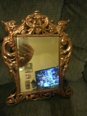 Antique Victorian 19Th C. Cast Iron Frame Nude Women Ornate Table Mirror