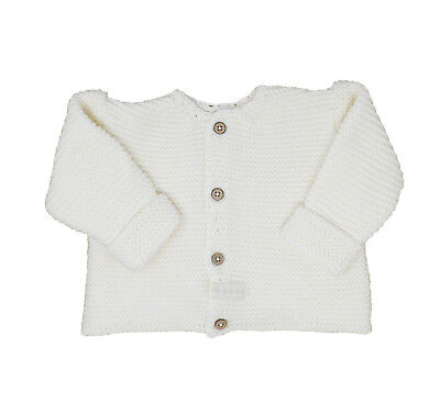 Natures Purest 100% Cotton Thick Chunky Cream Knitted Cardigan 3-6 Mths (0252B)