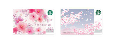 STARBUCKS Korea 2018 Cherry Blossom & Rose of Sharon Card Set Limited Edition