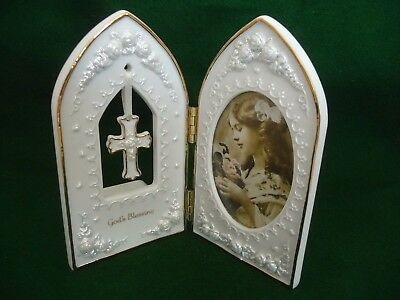 San Francisco Music Box Company Musical Double Christening Picture Frame New