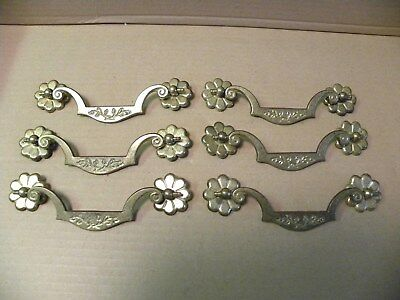 (6) Vintage Brass  Drawer Pulls / Handles -- Original Screws Included