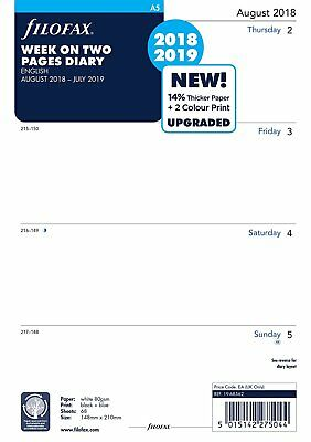 Filofax A5 2018-2019 Academic Mid Year Diary Week on Two Pages 19-68562