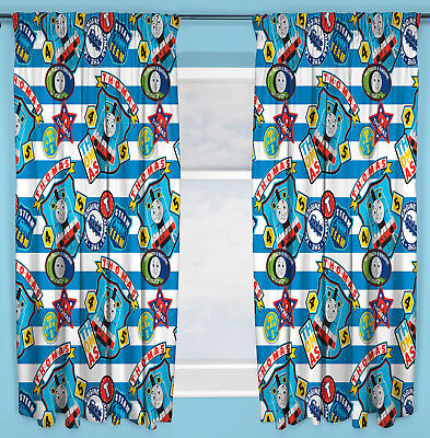 "Thomas The Tank Engine Patch Curtains 66""x54"" 167x137cm Kids Character Bedroom"