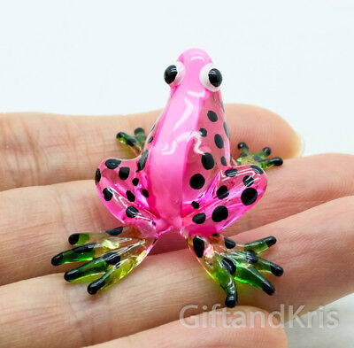 Figurine Animal Hand Blown Glass Pink Frog - GPFR077