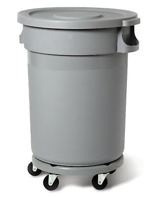 Round Grey Container 80L Heavy Duty Waste Bin with Snap on Lid and Dolly