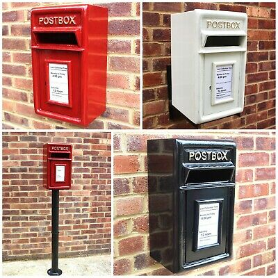 Postbox Cast Iron Mail Letter Box Red/Black Option on Stand/Wall Mount ER GR