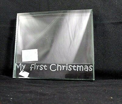 """Mud Pie Baby's My 1st Christmas Picture Frame Tabletop Heavy Crystal Glass 6""""x4"""""""