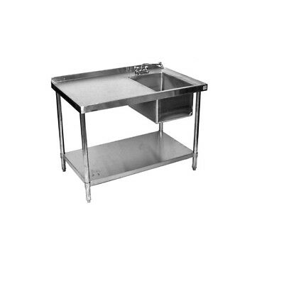 X ALL STAINLESS Steel Work Table With Prep Sink On Right - Stainless steel work table with sink