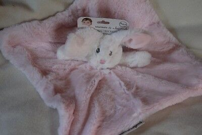 NEW Blankets & Beyond  NUNU Security Lovey PINK with WHITE  BUNNY NEW EASTER