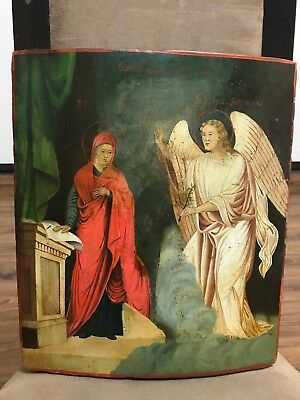 """Antique 19c Russian Hand Painted Wood Icon """"Annunciation of the Virgin"""""""