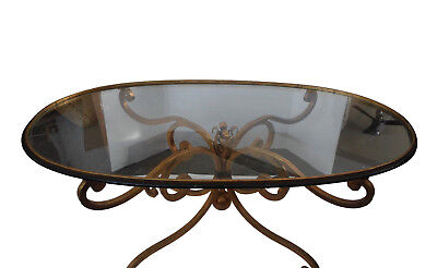 Hollywood Regency Italian Gilt Metal Coffee Table with Glass Top 1950s Glam