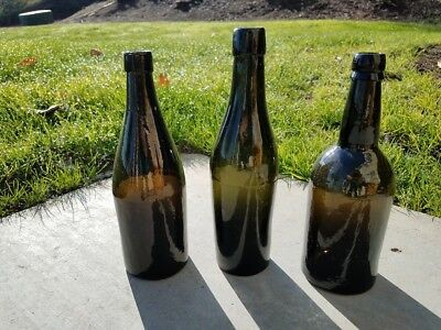 3 Antique Black Glass Ale Bottles, Applied Lip, Pontil - Lot Of 3