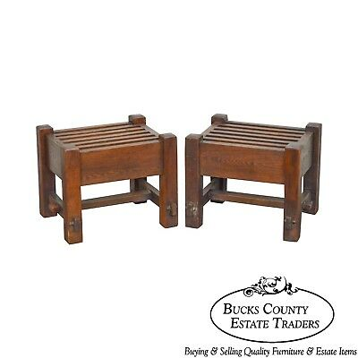 Mission Oak Antique Pair of Stickley Era Slatted Stools