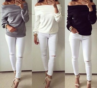 Fashion Long Sleeve Women Off Shoulder Loose Tank T-Shirt Casual Blouse Tops