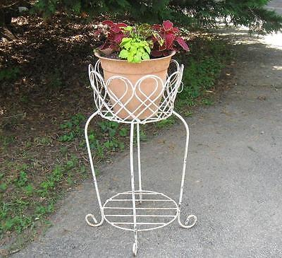 Vintage Wrought Iron Plant Fern Stand Antique 2 Tiers Architectural
