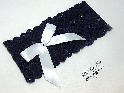Navy blue stretch Bridal Wedding garter. Brides .Hen .toss
