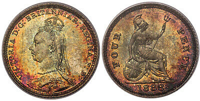 GR. BRIT. Victoria. 1888 AR Fourpence, Groat. PCGS MS65. KM 773. Superb toning.