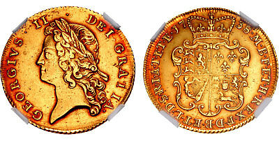 GR. BRIT. George II. 1738 AV Two Guineas NGC AU53 Lovely red-gold cabinet patina