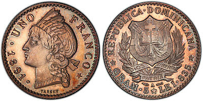 DOMINICAN REPUBLIC. 1891-A AR Franco. PCGS PR65 KM 11. Ext. rare Paris mint PR