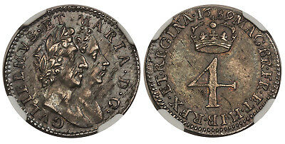 ENGLAND William and Mary. 1689 AR Fourpence, Groat. NGC MS63 S3439; ESC 1865