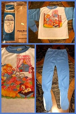 1970s Girls Pajamas Footed 2 Pc Blue Long Sleeve Polyester Soft NEW VINTAGE Sz 8