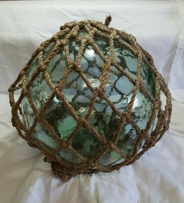 Fishing Float Buoy Ball Japanese Vintage Genuine Glass Light Green NET 12in