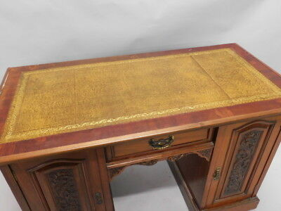 Edwardian Mahogany Leather Top Pedestal Desk, circa 1900