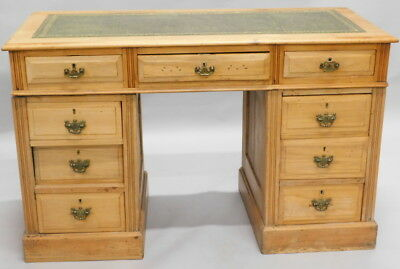 Edwardian Solid Pine Leather Top Pedestal Desk, circa 1900