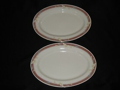 """2 Sango Majesty Collection 14 1/8"""" Oval Serving Platter Taupe Fantasy"""