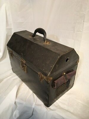 Vintage Old Pet Cat Small Dog Carrier Travel Case Heavy Tote Black Theatre Prop