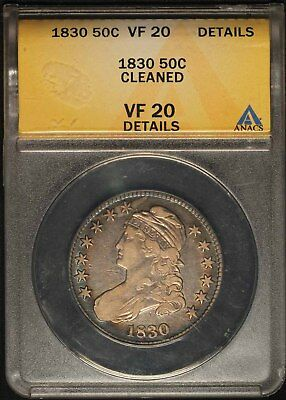 1830 Capped Bust Half Dollar - ANACS VF20 Cleaned - Free Shipping USA