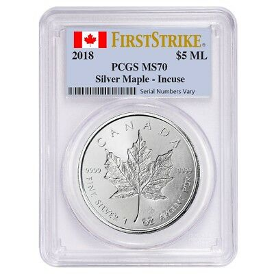 2018 1 oz Silver Canadian Incuse Maple Leaf PCGS MS 70 First Strike