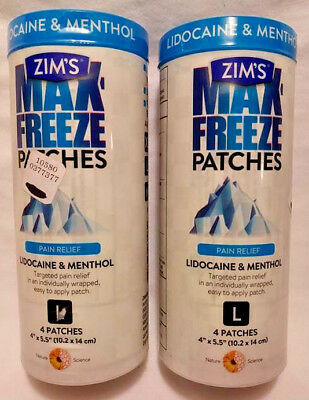 """2 Pack Zim's Max Freeze Patches Pain Relief L 8 Patches Total 4""""x5.5"""" Free Ship"""