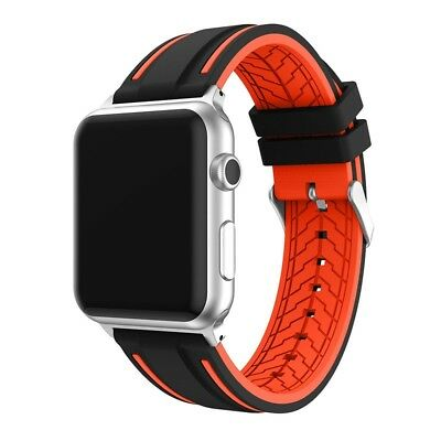 (38mm, Silicone black/orange) - Apple Watch Bands (38mm/42mm), BFYTN Premium