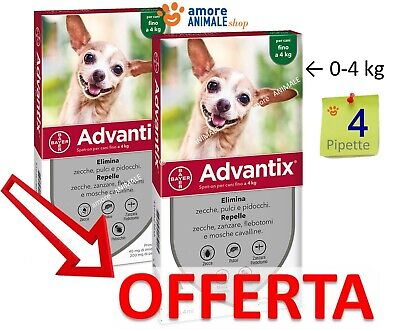 Advantix Bayer Spot-On Cani da 0 fino a 4 kg - Antiparassitario 0-4 kg scad 2022