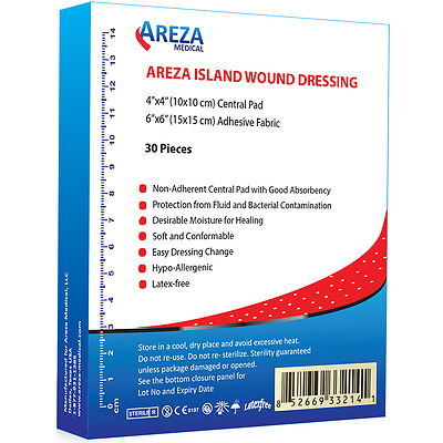 "Bordered Gauze (Island Dressing) 6"" x 6""  (Box of 30)"