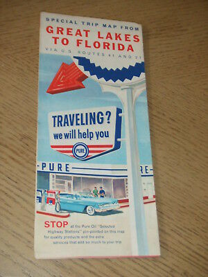VINTAGE 1960 Pure Oil Gas Great Lakes to Florida SPECIAL Highway Road Map STAMP