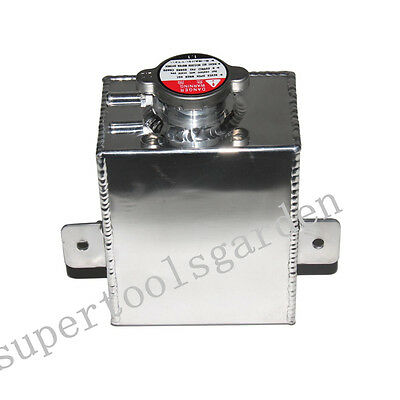 Universal Polished Aluminum Coolant Radiator Overflow Recovery Tank Water 1.2l