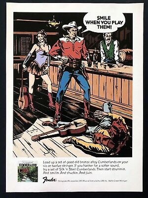1976 Vintage Print Ad 70's FENDER Strings Guitar Illustration Art Fight Cowboy
