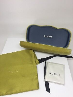 New Gucci Case Hard Shell Velvet Sunglasses & Eyeglasses Lime Velvet Medium Case