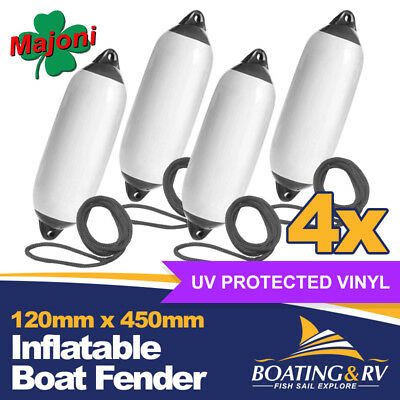 4x Black Inflatable Boat Fenders | 120 x 450mm Dock Fenders with Fender Rope