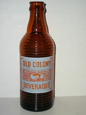 RARE Amber OLD COLONY BEVERAGES 10 oz Orange Crush FAT BOTTLE SODA ACL Canada