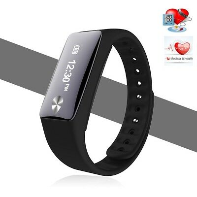(Black) - Bluetooth Smart Bracelet Heart Rate Monitor Pedometer Sports