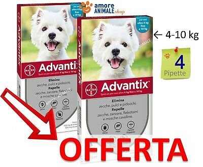 Advantix Bayer Spot-on - 4 pipette per cani da 4 kg fino a 10 kg || 4-10 kg
