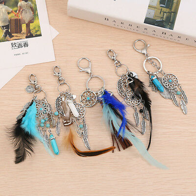 Boho Dream Catcher Feather Tassel Key Chain Ring Keyring Keyfob Bag Purse Charm