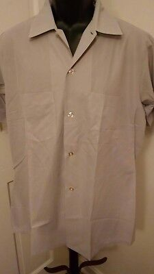 "Mens Sz L 16-16 1/2 Shirt ARROW DECTOLENE Gray Solid Vintage  70""S Short Sleeve"