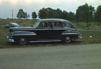 1940s Car Red Border Kodachrome People Sitting in car 35mm Slide