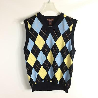 Brooks Brothers Size L Sweater Vest Cotton Blue Yellow Diamond Argyle VNeck Boys