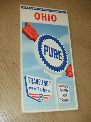 VINTAGE 1961 Pure Oil Gas Ohio State Highway Road Map North Ridgeville STAMP OH